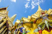 image of palace  - Warriors at the Emerald Buddha Temple Wat Phra Kaew - JPG