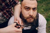 foto of shaved head  - two strong stylish  bearded men shave outdors - JPG