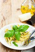 pic of pesto sauce  - Pasta tagliatelle with green pesto sauce - JPG