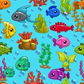 stock photo of fish  - Seamless pattern with cute cartoon fishes and sea weeds on blue - JPG