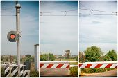 foto of traffic light  - red traffic light crossing level - JPG