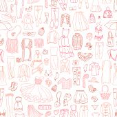 picture of outerwear  - Vector seamless pattern of different women - JPG
