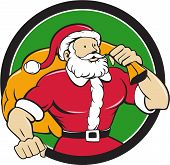 foto of nicholas  - Cartoon style illustration of a muscular super santa claus saint nicholas father christmas carrying sack over shoulder looking to the side set inside circle on isolated background - JPG