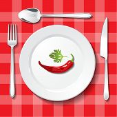 pic of gastritis  - Table appointments on red tablecloth - JPG