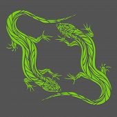 pic of lizard skin  - Two bright green lizard on a gray background - JPG