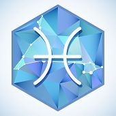 pic of pisces  - Zodiac sign and constellation Pisces into hexagonal frames on low poly background - JPG