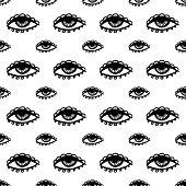 stock photo of hamsa  - abstract white seamless pattern with black eye - JPG