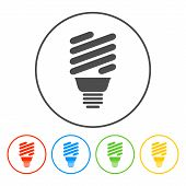 picture of fluorescent  - Vector energy saving fluorescent light bulb icon - JPG