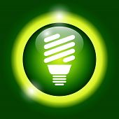 stock photo of fluorescence  - Vector energy saving fluorescent light bulb icon - JPG