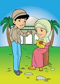 picture of palm-reading  - Muslim couple talking outside mosque in the field - JPG