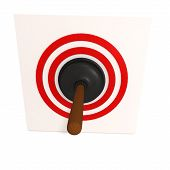 stock photo of plunger  - Black rubber plunger in red target over white - JPG