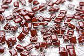 stock photo of capacitor  - Lots of Electrolitic Capacitors Placed Bulk - JPG
