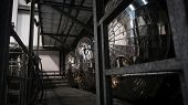 picture of silos  - Industrial interior of an alcohol factory with silos - JPG