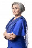 stock photo of beautiful senior woman  - Portrait of beautiful senior woman on a white background - JPG