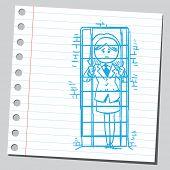 stock photo of jail  - Businesswoman in jail - JPG