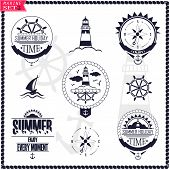 stock photo of wind wheel  - Set of vintage marine logos - JPG
