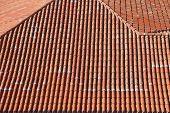 pic of shingle  - Terracotta ceramic roof shingle tiles from above - JPG