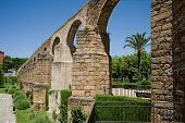stock photo of aqueduct  - Arches of San Anton Aqueduct of Caceres Extremadura - JPG