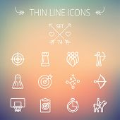 stock photo of archery  - Sports thin line icon set for web and mobile - JPG