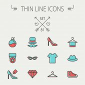 stock photo of perfume  - Business shopping thin line icon set for web and mobile - JPG