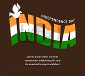 image of indian independence day  - illustration of wavy Indian flags with monument - JPG