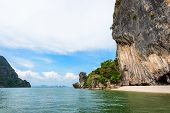 pic of james bond island  - Beautiful landscape of sea sky and beach landing for boats travel to Khao Tapu or James Bond Island in Ao Phang Nga Bay National Park Thailand - JPG