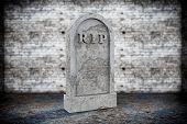 image of empty tomb  - Closeup Blank Memorial Gravestone on grunge background - JPG