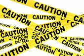 image of barricade  - Caution Yellow Tape Strips on a white background - JPG