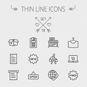 Business shopping thin line icon set for web and mobile. Set includes- electronic calculator, new ta poster