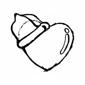 picture of condom  - illustration vector hand drawn doodles heart with condom on the top safe sex concept - JPG