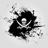 pic of pirate flag  - black background design with the pirate flag - JPG