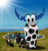 picture of milk  - Cows grazing in the mountains with white carton milk with black spots and text milk in the shape of horns - JPG