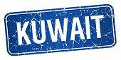 stock photo of kuwait  - Kuwait blue stamp isolated on white background - JPG