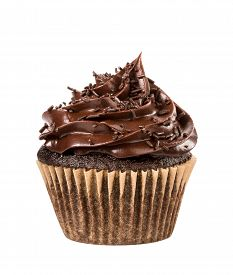 pic of snickers  - Chocolate cupcake with sprinkles isolated on white - JPG