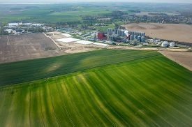 picture of biogas  - Aerial view of the modern biogas factory - JPG