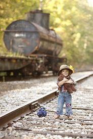 pic of hobo  - Adorable toddler on the railroad tracks and dressed as a hobo - JPG