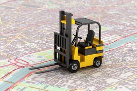 stock photo of forklift  - Cargo delivery Concept - JPG
