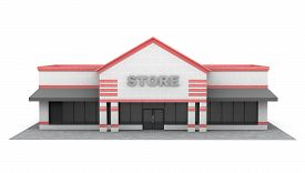 foto of department store  - 3d Large Store Building on a white background - JPG