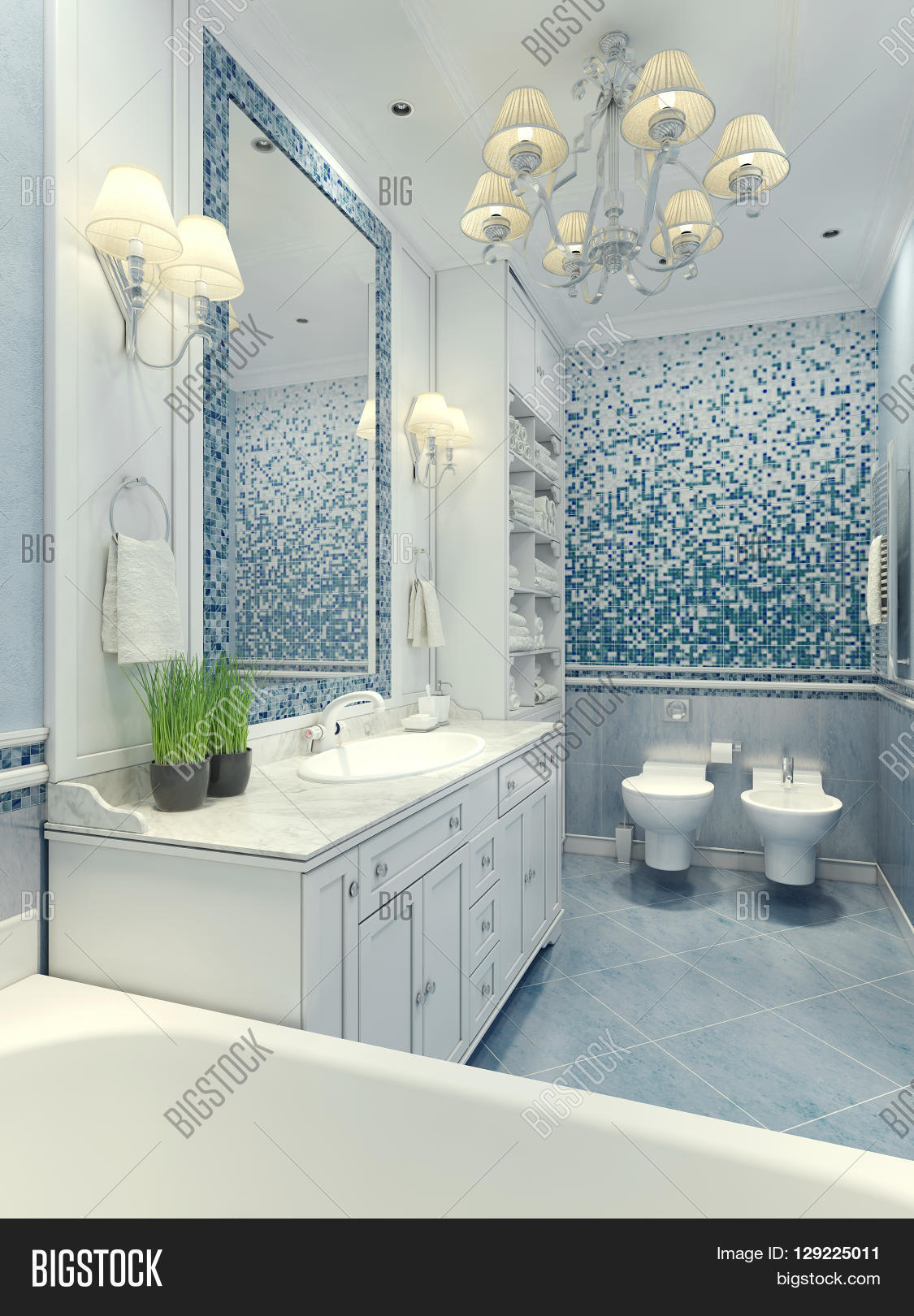 Bright bathroom classic style  Luxury chandelier mirror white furniture and  built in sink toilet. Bright bathroom classic style  Luxury chandelier mirror white