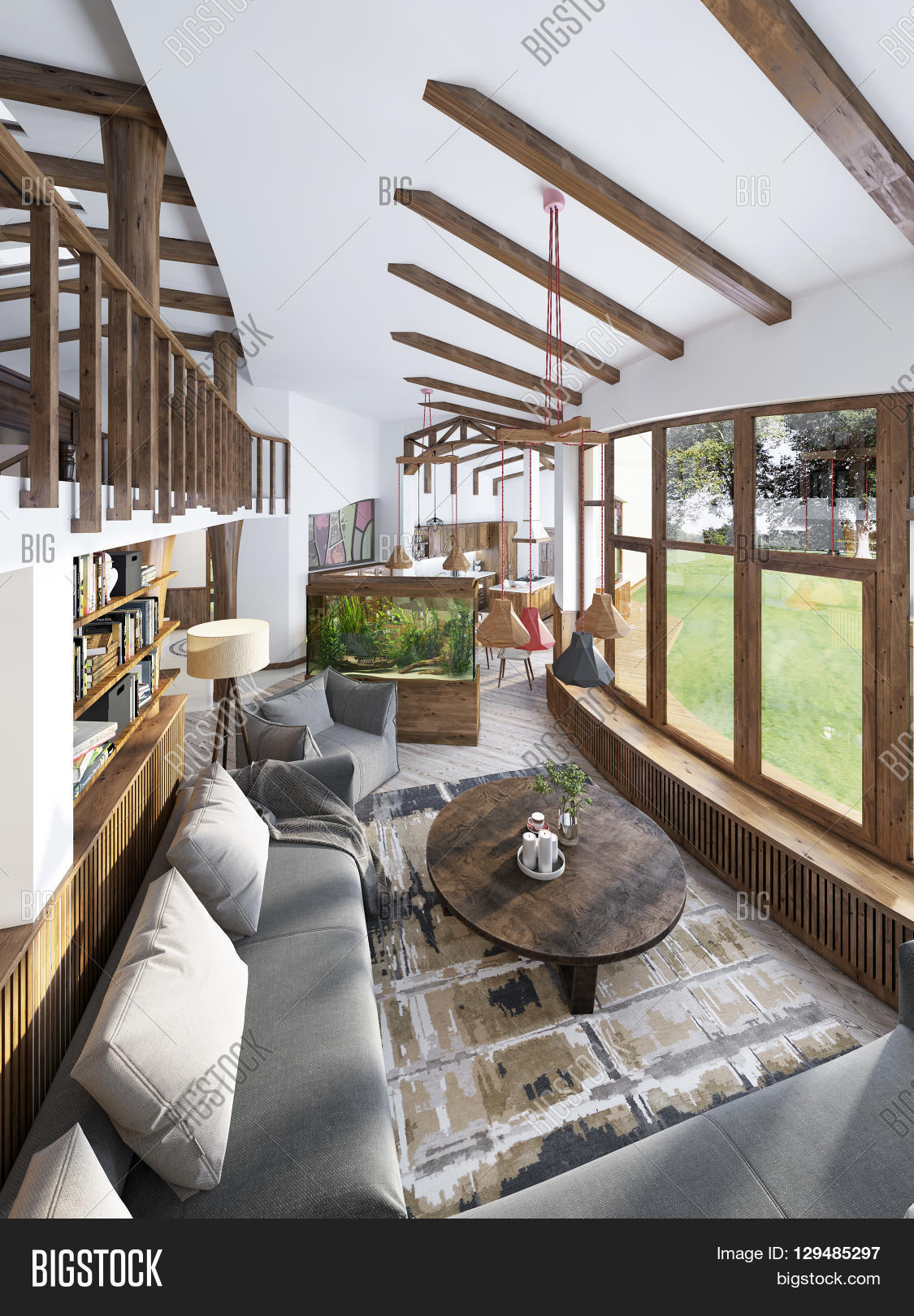 Large Living Room Studio With A Kitchenette And Balcony In An Organic Style