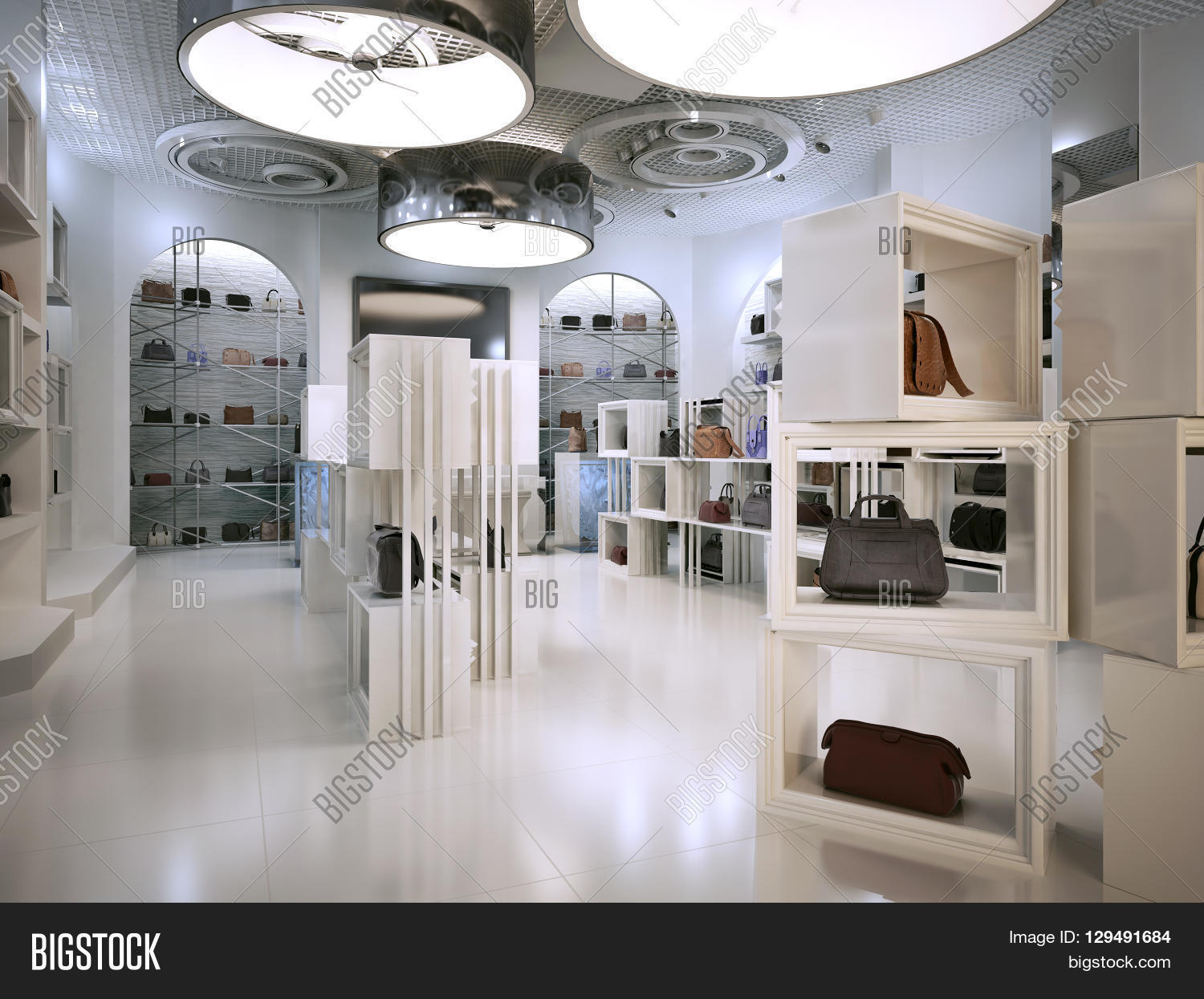 Luxury Store Interior Design Art Deco Style With Hints Of Contemporary White