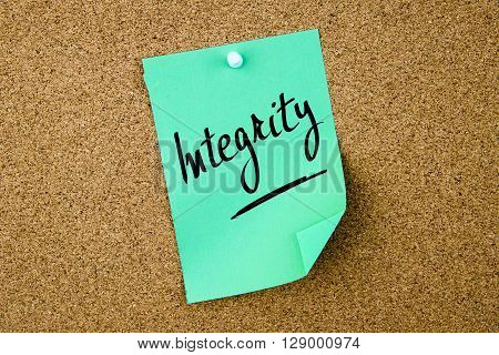 Integrity Written On Green Paper Note