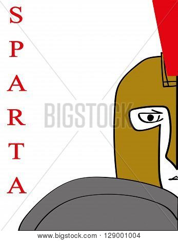 Simple vector illustration of the face,helmet and shield of a Spartan Warrior with the word Sparta added in red text