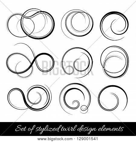 Vector abstract spirals and twirls shapes. Design elements set.