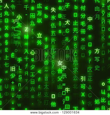 Green symbols of matrix binary code on dark background digital seamless pattern