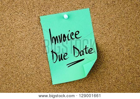 Invoice Due Date Written On Green Paper Note