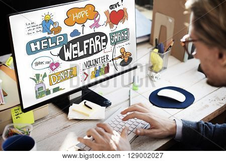 Welfare Help Giving Hands Aid Concept