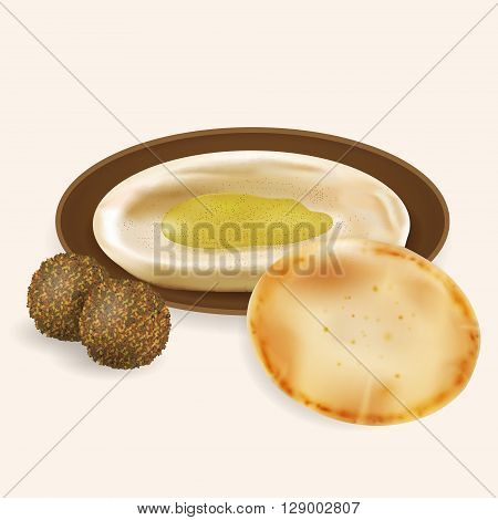 Illustration of hummus with pita bread falafel isolated.