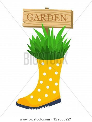 Garden flower bed. Garden decoration. Plant growing from rubber boot with garden sign. Vector illustration