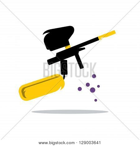 Weapon for paintball shooting oil balls Isolated on a White Background
